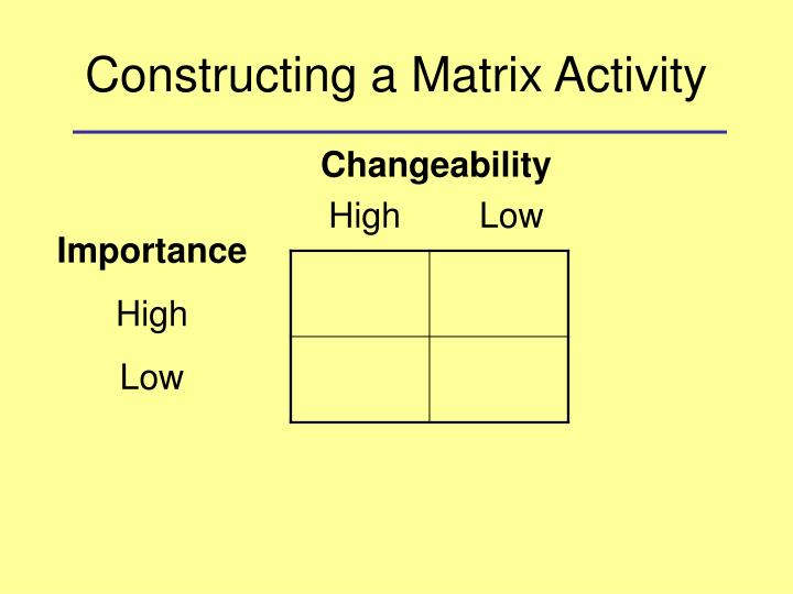 Constructing a Matrix Activity