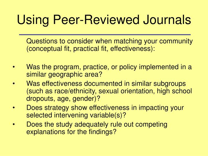 Using Peer-Reviewed Journals