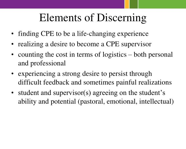 Elements of Discerning