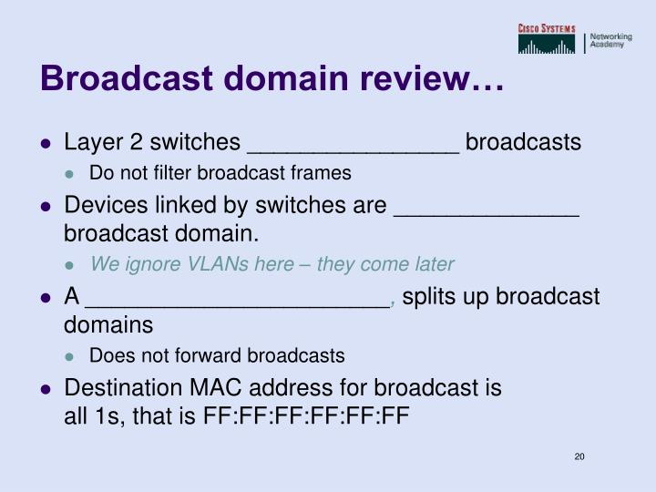 Broadcast domain review…
