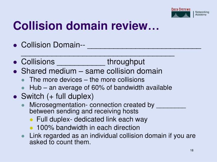 Collision domain review…