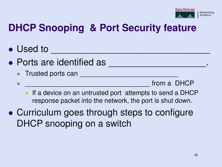 DHCP Snooping  & Port Security feature