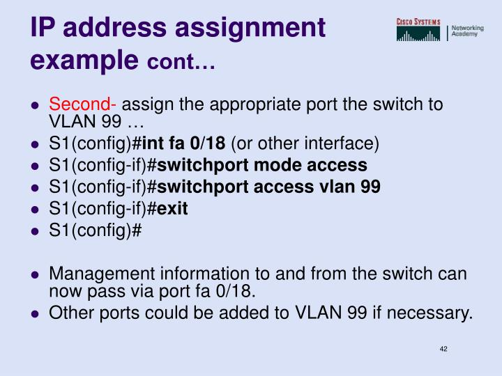 IP address assignment example