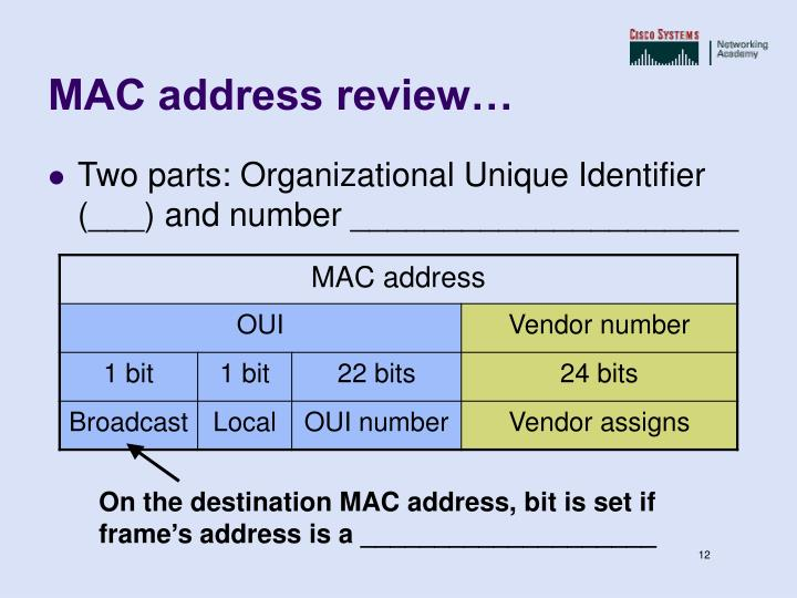 On the destination MAC address, bit is set if frame's address is a ____________________