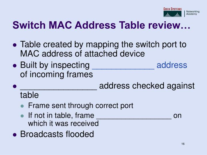 Switch MAC Address Table review…