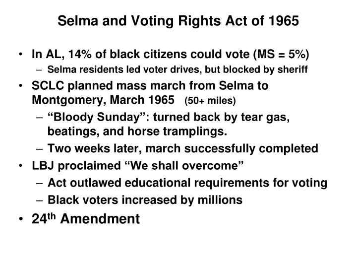 Selma and Voting Rights Act of 1965