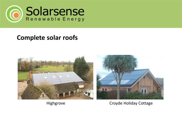 Complete solar roofs