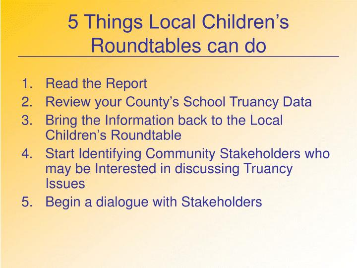 5 Things Local Children's Roundtables can do