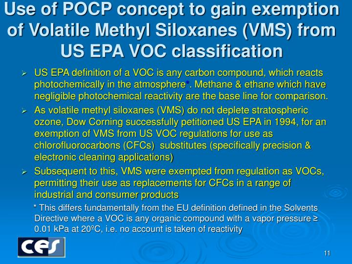 Use of POCP concept to gain exemption of Volatile Methyl Siloxanes (VMS) from US EPA VOC classification