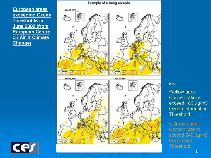 European areas exceeding Ozone Thresholds in June 2002 (from  European Centre on Air & Climate Change)