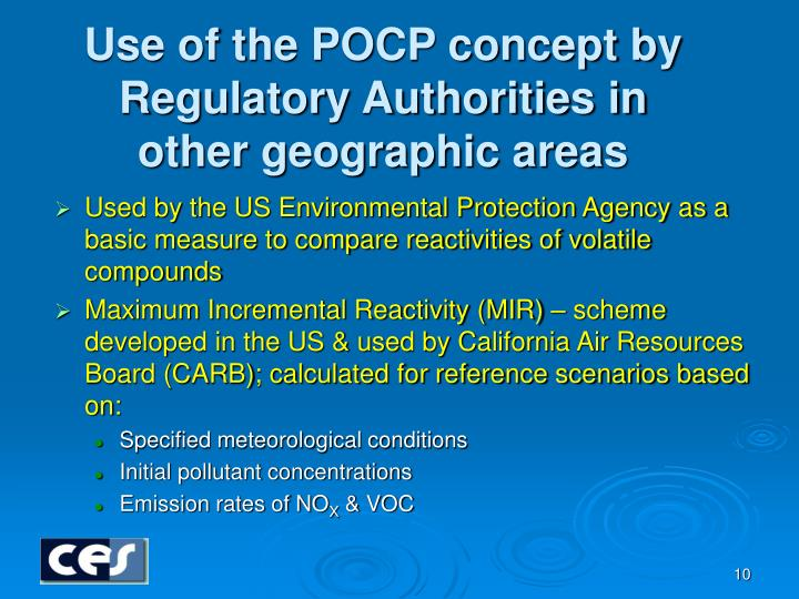 Use of the POCP concept by Regulatory Authorities in other geographic areas