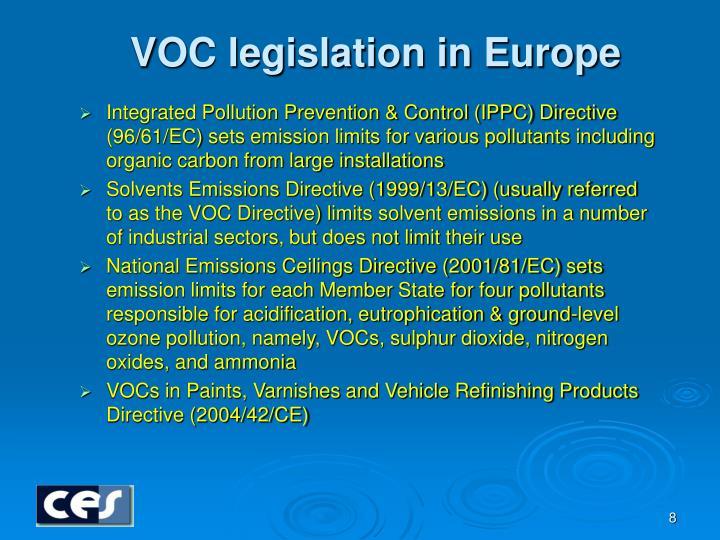 VOC legislation in Europe