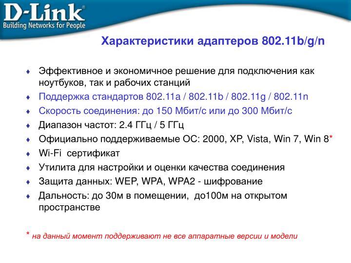 Характеристики адаптеров 802