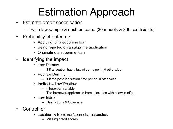 Estimation Approach
