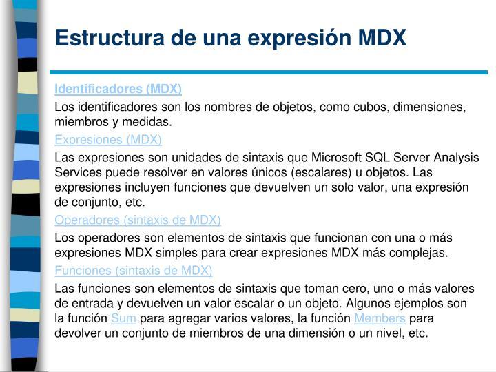 Estructura de una expresión MDX