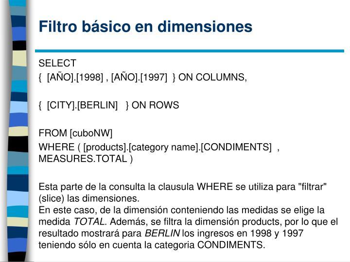 Filtro básico en dimensiones