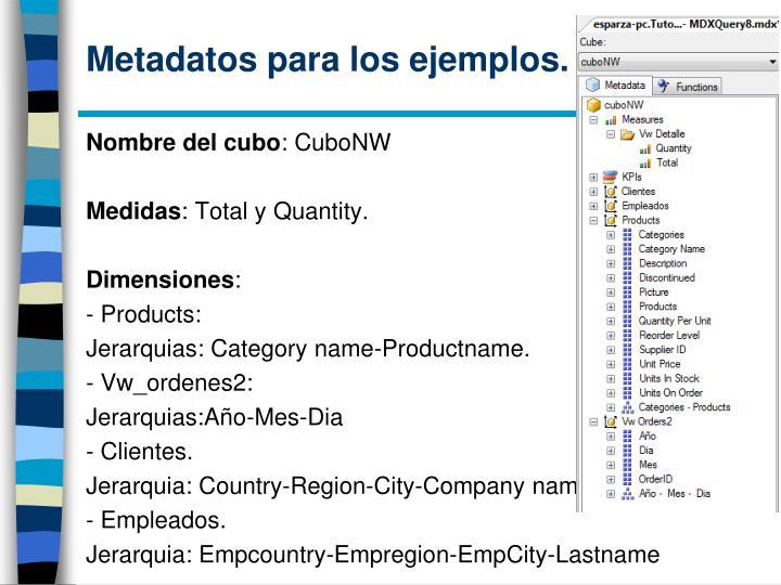 Metadatos para los ejemplos.