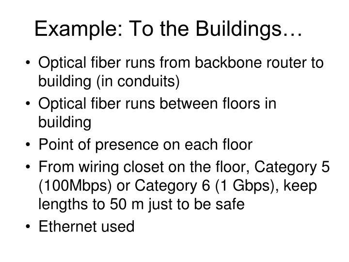 Example: To the Buildings…