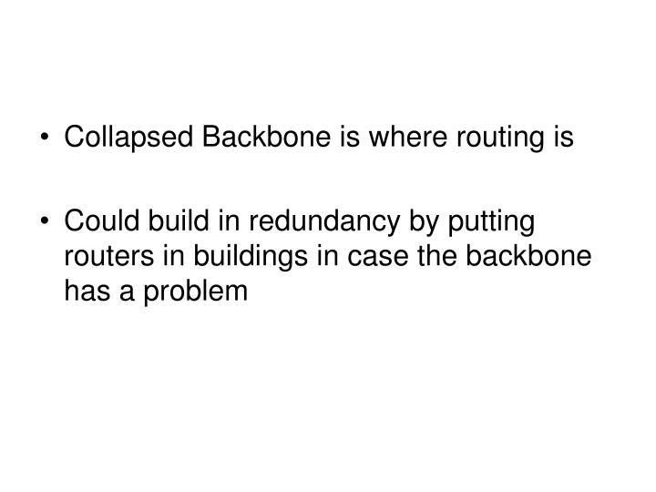Collapsed Backbone is where routing is