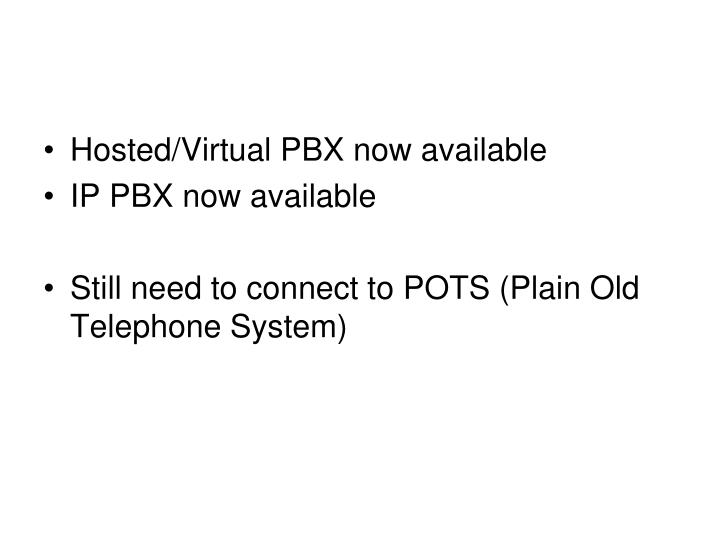 Hosted/Virtual PBX now available