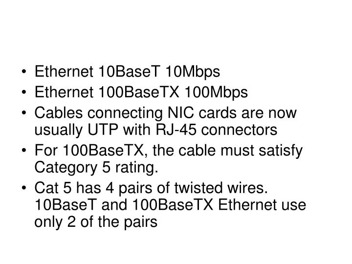 Ethernet 10BaseT 10Mbps