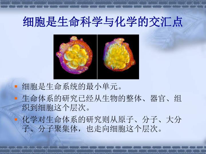 细胞是生命科学与化学的交汇点