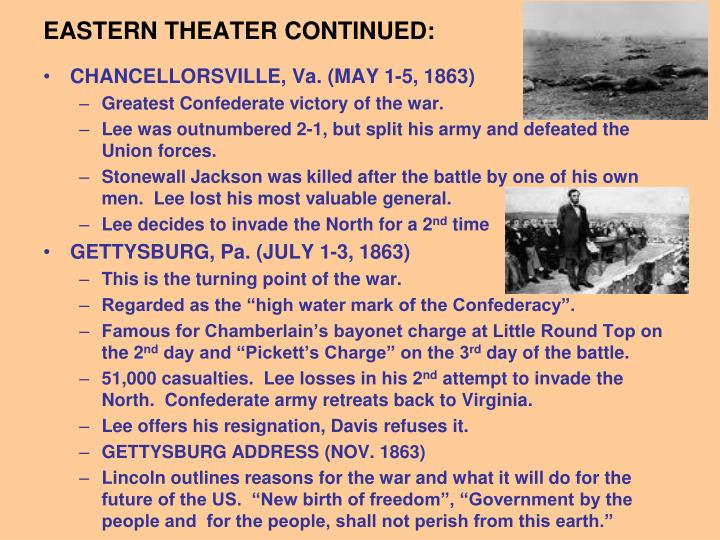 EASTERN THEATER CONTINUED: