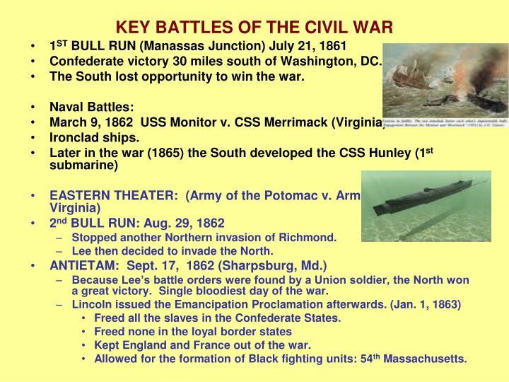 KEY BATTLES OF THE CIVIL WAR