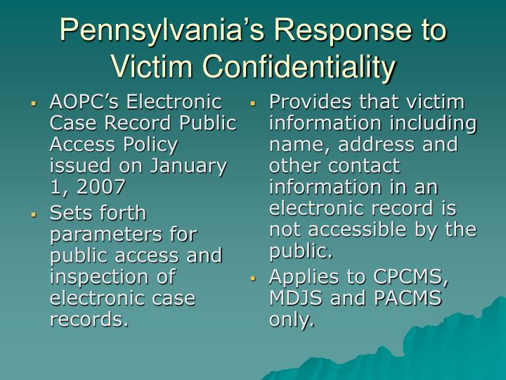 AOPC's Electronic Case Record Public Access Policy issued on January 1, 2007