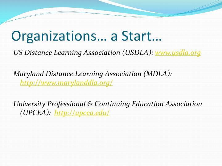 Organizations… a Start…