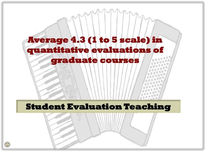 Average 4.3 (1 to 5 scale) in quantitative evaluations of graduate courses