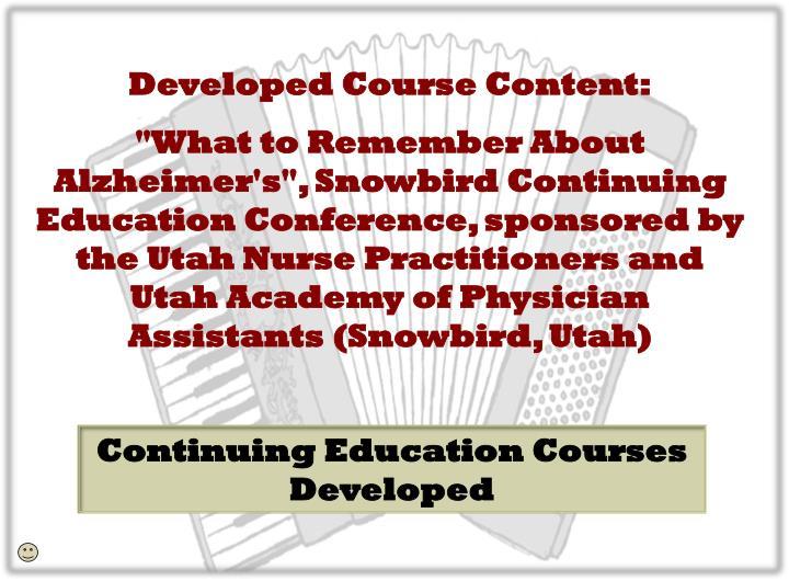 Developed Course Content: