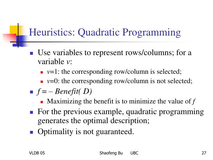 Heuristics: Quadratic Programming