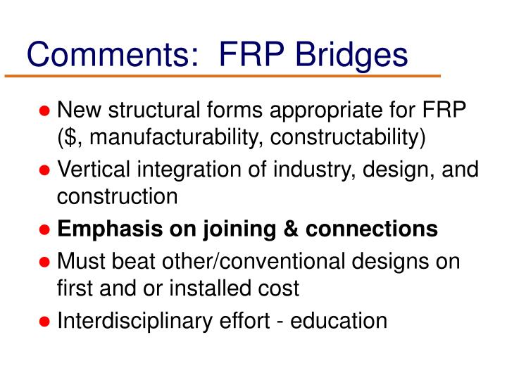 Comments:  FRP Bridges
