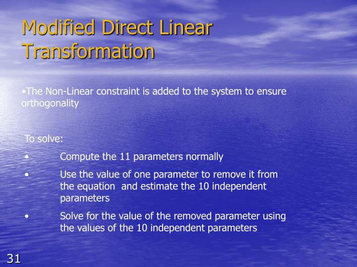 Modified Direct Linear Transformation