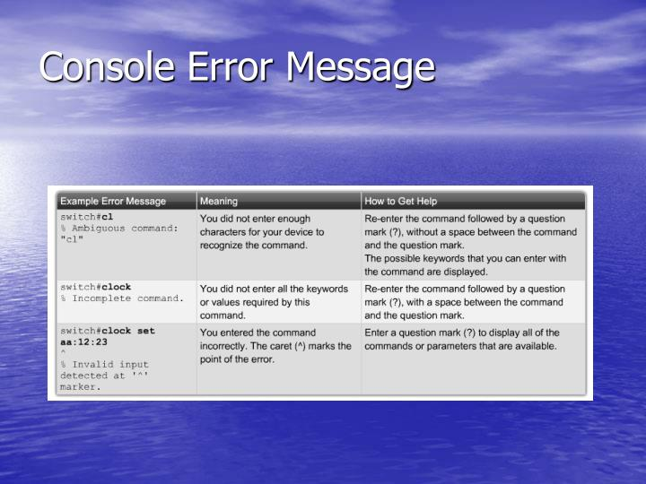 Console Error Message