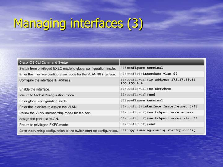 Managing interfaces (3)