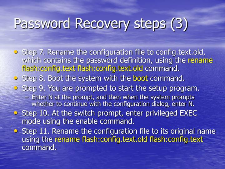 Password Recovery steps (3)