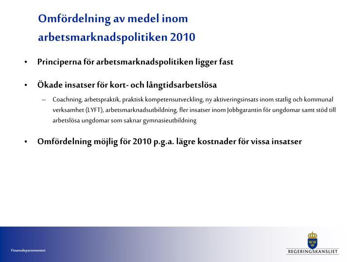 Omfördelning av medel inom arbetsmarknadspolitiken 2010