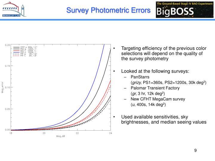 Survey Photometric Errors