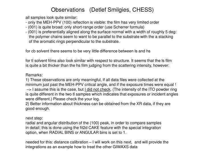 Observations   (Detlef Smilgies, CHESS)