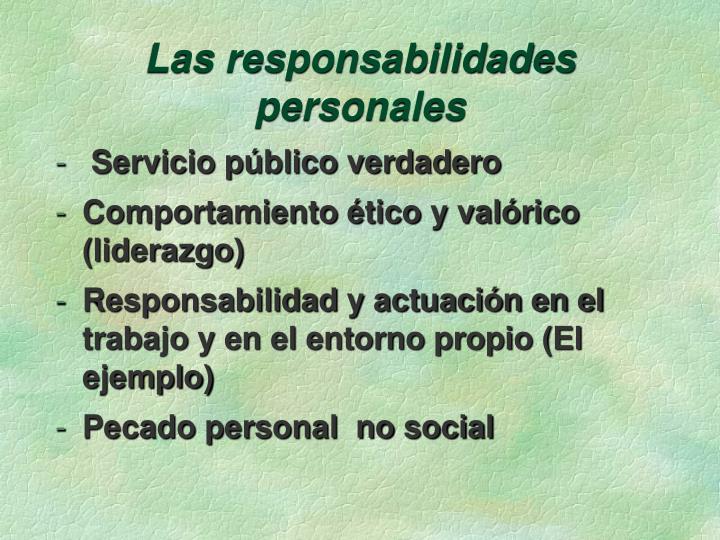 Las responsabilidades personales