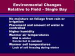 environmental changes relative to field single bay