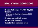 mkt yields 2001 2005