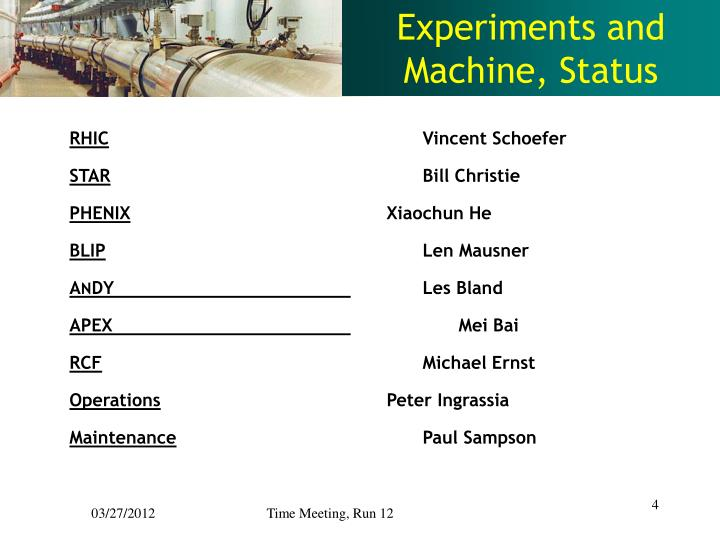 Experiments and Machine, Status