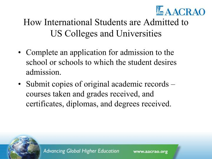 How International Students are Admitted to US Colleges and Universities