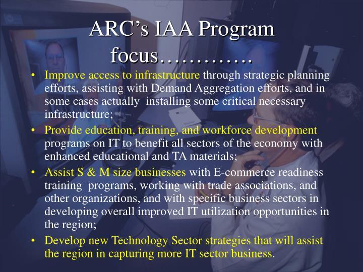 ARC's IAA Program focus………….