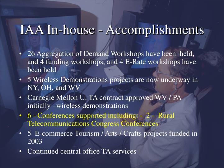 IAA In-house - Accomplishments