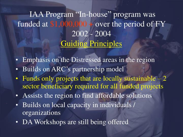 """IAA Program """"In-house"""" program was funded at"""