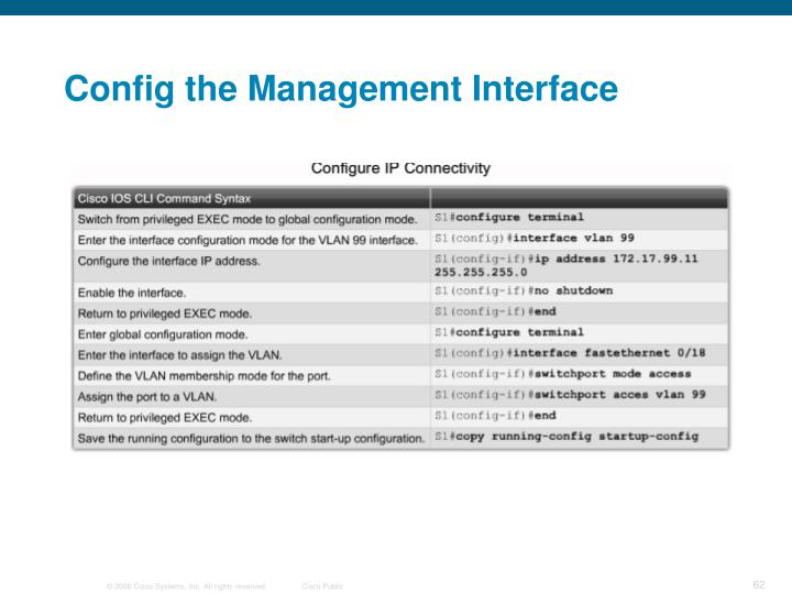 Config the Management Interface